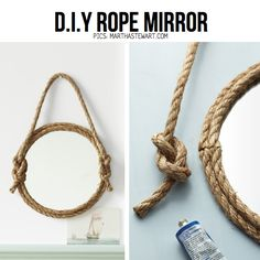15 Beautiful Rope Crafts For Timeless Decor Ideas. Crafts with rope/twine. Love the awesome craft DIY easy quick decor projects Rope Mirror, Diy Mirror, Mirror Bathroom, Home Decor Hacks, Diy Home Decor, Rope Crafts, Diy And Crafts, Diy Projects To Try, Craft Projects