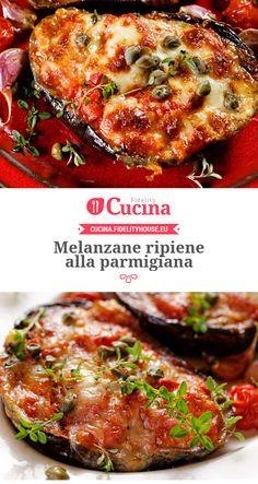 stuffed with parmigiana - İtalian cuisine Diet Recipes, Vegetarian Recipes, Cooking Recipes, Healthy Recipes, Classic Italian Dishes, Italian Pasta Recipes, Italy Food, Eggplant Recipes, Vegetable Recipes
