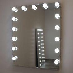 Diy Vanity Mirror With Lights, Backlit Bathroom Mirror, Hollywood Mirror With Lights, Mirrors For Makeup, Salon Mirrors, Lighted Wall Mirror, Small Vanity Mirror, Hall Bathroom, Home Design