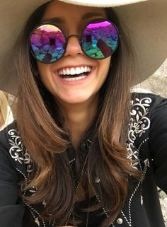Nina Dobrev in her YETTI Rainbow sunglasses from SUNDAY SOMEWHERE.   www.sundaysomewhere.com