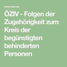 ÖZIV-Folgen der Zugehörigkeit zum Kreis der begünstigten behinderten Personen Work Accident, Workplace