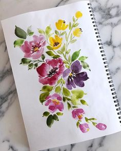 Happy bursts of florals for freezing cold days! Watercolor Painting Techniques, Watercolor Projects, Watercolor Images, Watercolor Cards, Watercolor Illustration, Floral Watercolor, Watercolor Paintings, Watercolors, Art Floral