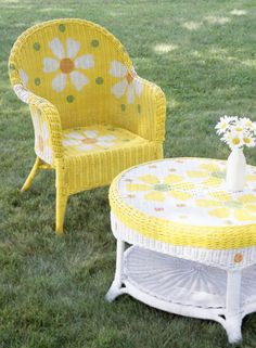Wicker Furniture Make Over......All you need is an outdoor space where you can spray paint, either some   paint brushes or the proper type of paint or spray paint and some tools to   help you paint such as tape or stencils just to name a couple of examples.   There are a lot of things around the house that one can use as a stencil such   as paper doilies, lace, cut outs or more.  You can make your own as well   by cutting out shapes with thick paper.  More great ideas on the website