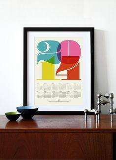 2014 calendar print poster Mid Century Modern vintage kitchen retro art cmyk retro office Eames - A3