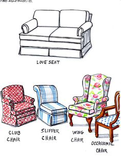 When buying living room furniture, FORGET the LOVESEAT, buy two Wing, Club or Occasional Chairs instead
