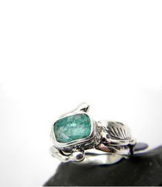 Abstract apatite ring sterling silver rough by nikiforosnelly