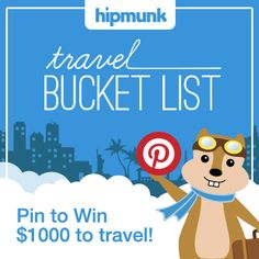 Pin for your chance to win $1,000 for travel anywhere on your bucket list from Hipmunk! #HipmunkBL Travel Money, Air Travel, Travel Sweepstakes, Top Travel Destinations, Travel Tips, I Want To Travel, Outdoor Fun, Dream Vacations, Places To See