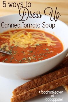 5 easy ways to dress up your canned tomato soup! Campbell's Tomato Soup Recipes, Panera Tomato Soup Recipe, Quick Tomato Soup, Tomato Bisque Soup, Creamy Tomato Basil Soup, Quick And Easy Soup, Easy Soup Recipes, Cooking Recipes, Tomato Tomato