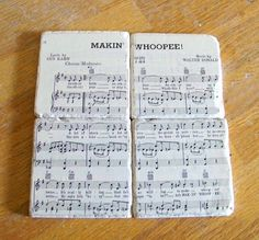 Coasters using old sheet music would be precious with tin man and timbre tambre music @Samantha Moffitt  @maddie Storey