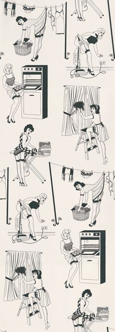 50's Housewife (Half Scale) (50s HOUSEWIFE) - Dupenny Wallpapers - A high quality wallcovering showing designs of  50s housewifes doing the house work with quirky detailing made with inks. hand-made in the UK. showing in black and white. Please request a sample. Paste-the-wall product.