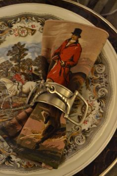 Equestrian tablesetting #stirrup napkin ring, #horse, #vintage linen, #brown transferware  from ThePolohouse.blogspot.com