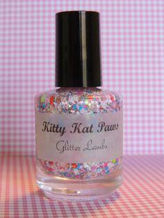 Kitty Kat Paws: Glitter Nail Polish Lacquer- Indie Nail Polish Custom Handmade Glitter Topper