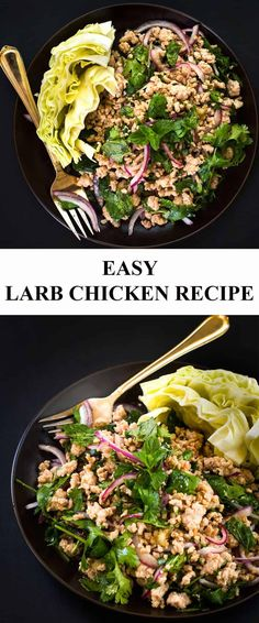"""easy-larb-recipe-with-chicken """"Minced meat: product knowledge and tips Min… Spicy Recipes, Healthy Chicken Recipes, Slow Cooker Recipes, Asian Recipes, Cooking Recipes, Protein Recipes, Asian Foods, Chinese Recipes, Cooking Ideas"""