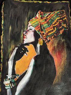 Afrocentric T-shirt Black Fashion Ethnic Afro Painted - Quortshirts Black Girl Art, Black Girl Magic, Black Art, Art Girl, African Men Fashion, Africa Fashion, African Women, Popular Paintings, Paint Shirts