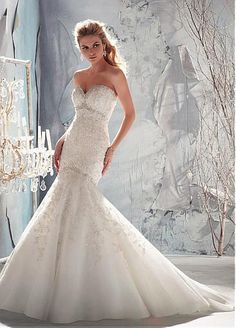 Stunning Organza & Satin Mermaid Sweetheart Neckline Empire Waistline Wedding Dress 229.99