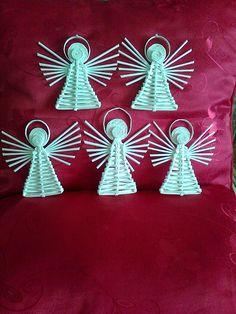 Ангелочки к Новому Году. Из бумажных трубочек.