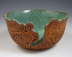 Pottery Yarn Bowl with Scalloped Rim, Medium | Handmade Stoneware with Turquoise Glaze