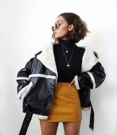 Fall Coats: leather oversized jacket with faux fur on the inner part. Mustard yellow mini skirt and polo neck black fitted sweater. Love this look for fall and winter add some thigh high boots aswell. Fashion Mode, Fall Fashion Outfits, Mode Outfits, Look Fashion, Trendy Outfits, Winter Fashion, Womens Fashion, Fashion Trends, Fashion Lookbook
