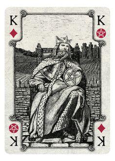 Arcana Playing Cards King of Diamonds/Pentacles - light