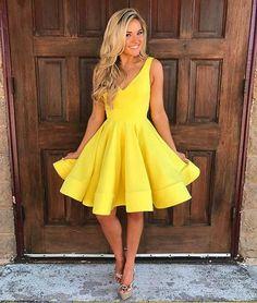 Cute yellow v neck short prom dress, yellow homecoming dress