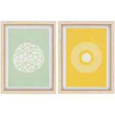 Mint & yellow pair of modern wall art by Surya! (GIB-6000)
