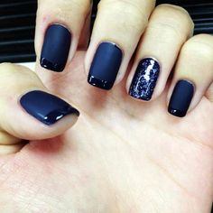 French manicure in blue and black