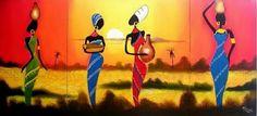 Negras Africanas al Óleo | Bodegones y Paisajes Cuadros al Óleo
