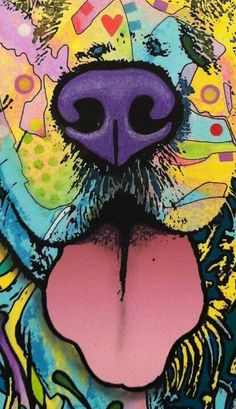 and a lick Cute Animal Drawings, Art Drawings, Pop Art, Rainbow Dog, Dog Illustration, Animal Paintings, Cute Wallpapers, Artwork, Canvas Art