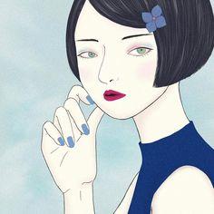 #illustration #bobhaircut #blackhair #bluenails #fuchsiapink #hydrangea #july #girl #beautifulpeople #blue #drawing #artwork #ibispaint #illustrator #ipadpro #イラスト #絵 #女の子 #紫陽花 #青 #ボブヘア #フューシャピンク #ドローイング #作品 #アイビスペイント #美人画 #黒髪 #美少女画 Artworks, Disney Characters, Fictional Characters, Snow White, Drawing, Disney Princess, Art Pieces, Draw, Disney Princesses