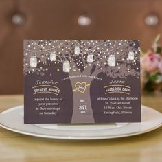 love tree and foil stars romantic wedding invitations