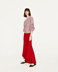 ZARA - WOMAN - STRIPED BLOUSE WITH PLEATED SLEEVES AND BOW BELT