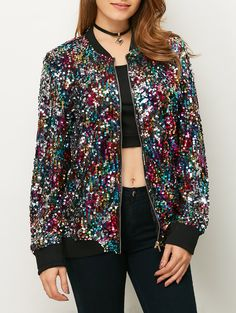 $32.45 Sequins Bomber Jacket MULTICOLOR: Jackets & Coats | ZAFUL