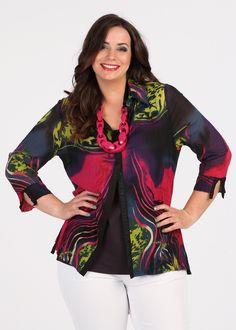 Plus Size Outfits – Plus Size Apparel and Tops Online at TS14 Plus - CITRUS SPLASH VOILE SHIRT - TS14