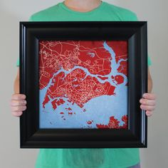 Map art print of Singapore | Celebrate some of the best cities the in the world with fine art maps from City Prints. Illustrated in bold colors inspired by their city flags, these prints look like modern art but also represent the places you're most passionate about.