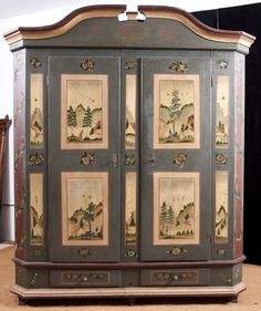 Painted German Marriage Armoire in Original Paint, dated 1823 | 14,500.00 USD