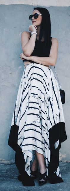 #spring #fashion #outfitideas | Black Crop Top + Striped Maxi Skirt | Dressed to Kill                                                                             Source