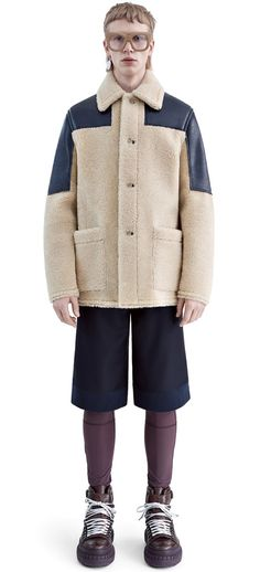 Aiden shearling jacket accented with leather patches #AcneStudios #FW15 #menswear