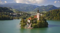 mountains nature summer Europe islands church Slovenia holidays resort bled lake bled wallpaper background