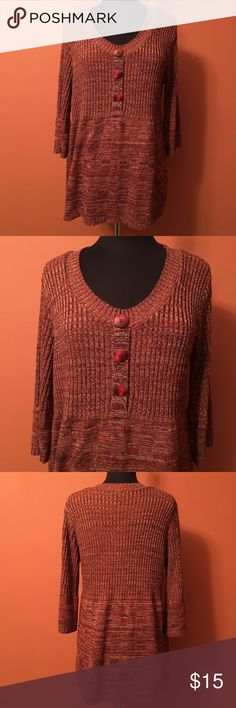 Beautiful 3/4 Sleeve Tunic Sweater Cute tunic sweater 14W/16W, great colors, scoop neck, in good condition 212 New York Sweaters Crew & Scoop Necks