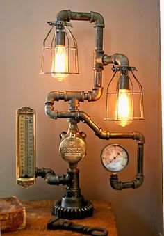 Steampunk Lamp Light Industrial Art Machine Age Salvage Steam Gauge Thermometer