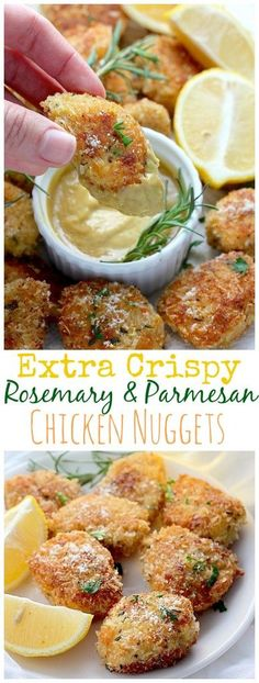 Rosemary Parmesan Chicken Nuggets - these taste incredible! Crunchy flavorful crust with tender juicy chicken!