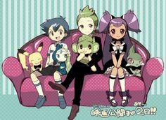 Ash, Pikachu, Meloetta, Cilan, Pansage, Axew, and Iris
