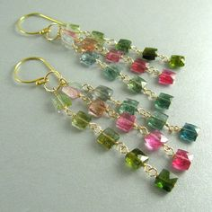 Tourmaline Wire Wrapped Luxe Earrings by SurfAndSand on Etsy, $109.00