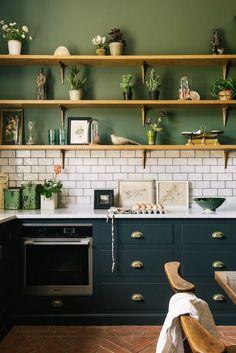 Kitchen Wall Tiles, Kitchen Paint, New Kitchen, Kitchen Shelves, Kitchen Backsplash, Devol Kitchens, Home Kitchens, Rustic Kitchen, Kitchen Decor