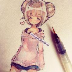 Anime art watercolor watercolour 19 Ideas for 2019 Art Kawaii, Chibi Kawaii, Anime Chibi, Kawaii Anime, Manga Drawing, Manga Art, Anime Art, Kawaii Drawings, Cute Drawings