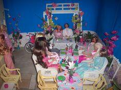 1:6 OOAK dollhouse backyard patio wedding reception