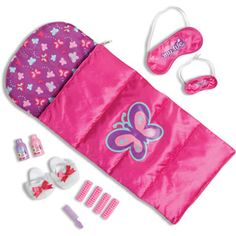 My Life Slumber Party Set Sleeping Bag for 18 Dolls Pink Butterfly Set My Life As Sleepover Doll Accessory Set My Life Doll Accessories, American Girl Accessories, Ropa American Girl, My American Girl Doll, Ag Dolls, Girl Dolls, My Life Doll Stuff, Bb Reborn, Baby Alive Food