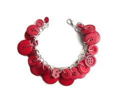 Red Charm Bracelet Buttons  Rich Red Hues by LovesParisStudio, $30.00