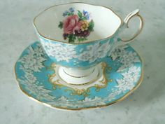 Royal Albert Teacup and Saucer Set in Turquoise- Vintage Teacups - Tea Cups and Saucers