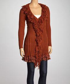 Another great find on #zulily! Rust Fringe Wool-Blend Duster - Women by Simply Couture #zulilyfinds